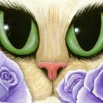 """Lavender Roses - Green Eyed Cat Purple Roses"" by tigerpixie"