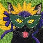 """Wild Mardi Gras Cat - Black Cat New Orleans Mask"" by tigerpixie"
