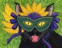 Wild Mardi Gras Cat - Black Cat New Orleans Mask