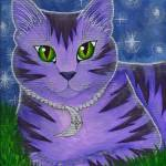 """Astra Celestial Moon Cat - Purple Cat Art"" by tigerpixie"