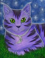 Astra Celestial Moon Cat - Purple Cat Art