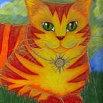 """Rajah Golden Sun Cat - Orange Cat Art"" by tigerpixie"
