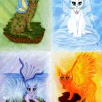 """Elemental Cats - Air Earth Fire Water"" by tigerpixie"