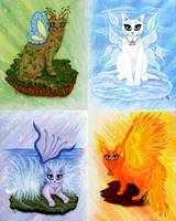 Elemental Cats - Air Earth Fire Water