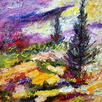 Impressionist Trees in the Field Oil Painting