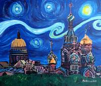 Starry Night in Saint Petersburg Russia with Golde