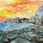 """AQ_Magnificient_Mykonos_Sunset_Scene_Little_Venice"" by arthop77"