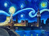 Starry Night London Big Ben and Parliament with Th