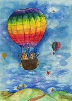 up up and away in a lovely rainbow balloon