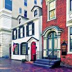 """""""Harrisburg PA - Street With American Flag"""" by susansartgallery"""