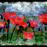 """26a Abstract Floral Red Poppy Digital Painting"" by Ricardos"
