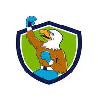Bald Eagle Boxer Pumping Fist Crest Cartoon