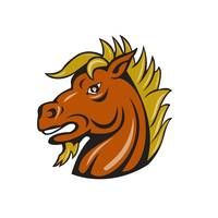 Angry Stallion Head Cartoon