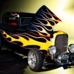 """1932 Ford 3 Window Coupe with Flames"" by FatKatPhotography"