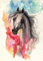 arabian horse with rainbow background
