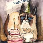 """grumpy birthday cat"" by tarantella"