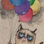 """""""grumpy little cat with colorful balloons"""" by tarantella"""
