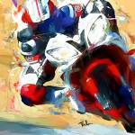 """motorcycle in corner"" by ArtbySachse"