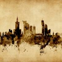"""Warsaw Poland Skyline"" by ModernArtPrints"