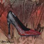 """Black and Red Shimmer Pump"" by DianaNadalFineArt"