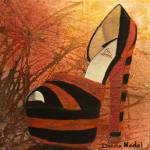 """Bright Orange and Black Platform Pump"" by DianaNadalFineArt"