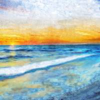 31a Seascape Sunrise Digital Painting Art Prints & Posters by Ricardos Creations
