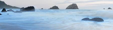 Panorama of incoming tide at False Klamath Cove