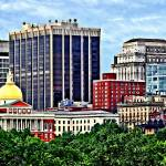 """Boston MA - Skyline with Massachusetts State House"" by susansartgallery"