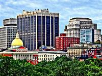 Boston MA - Skyline with Massachusetts State House