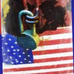 """AMERICAN.FLAG.LOCK.24X18"" by RubinoFineArt"
