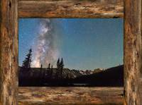 Rocky Mountain Milky Way Rustic Wood Window View