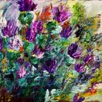 """Thistles Impressionist Oil Painting"" by GinetteCallaway"