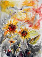 Sunflowers Summer Garden Watercolor