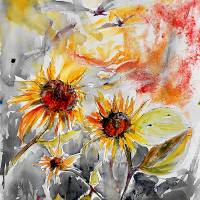 """Sunflowers Summer Garden Watercolor"" by GinetteCallaway"