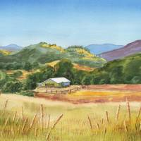 Landscape With White Barn Art Prints & Posters by Irina Sztukowski