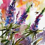 """Lupines and Bees In Garden Watercolor"" by GinetteCallaway"