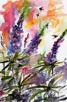Lupines and Bees In Garden Watercolor