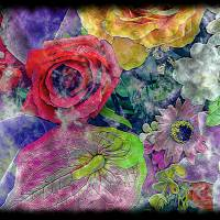 """34a Abstract Floral Painting Digital Expressionism"" by Ricardos"