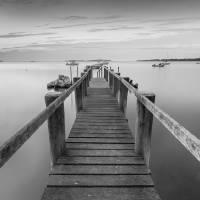 Boat Dock at Sunrise Black-and-white Panorama Art Prints & Posters by Dapixara Art