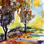 """Autumn Trees Watercolor Landscape Portrait"" by GinetteCallaway"