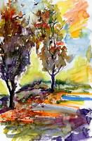Autumn Trees Watercolor Landscape Portrait