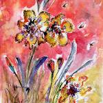 """Fancy Irises Floral Watercolor"" by GinetteCallaway"