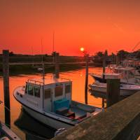 Sunrise and Fishing Boats at Rock Harbor Orleans Art Prints & Posters by Art Photography