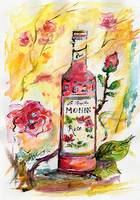 Still Life Monin Rose Watercolor