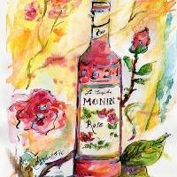 """Still Life Monin Rose Watercolor"" by GinetteCallaway"