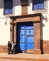 Blue Door Street Scene Cusco Peru