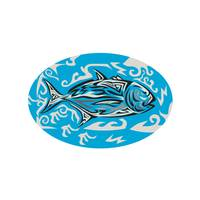 Giant Trevally Side Oval Tribal Art