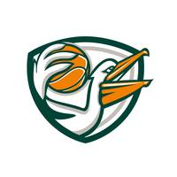 Pelican Dunking Basketball Crest Retro