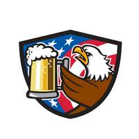 Bald Eagle Hoisting Beer Stein USA Flag Crest Retr