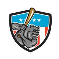 Bulldog Baseball Batting USA Crest Cartoon